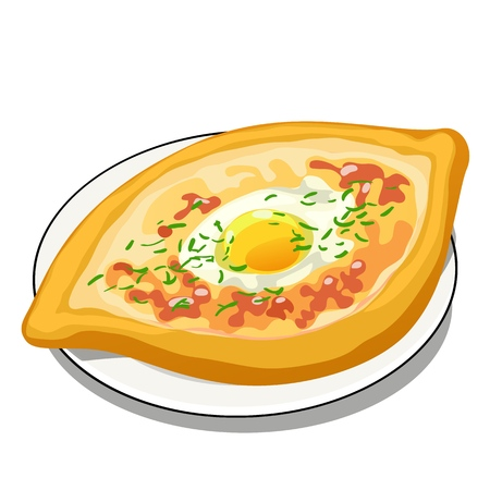 Fried egg in a bun isolated on white background. Vector cartoon close-up illustration.