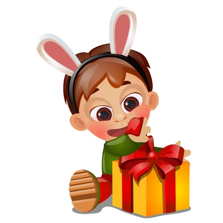 A little happy animated boy unwraps a gift on birthday isolated on white background. Vector cartoon close-up illustration