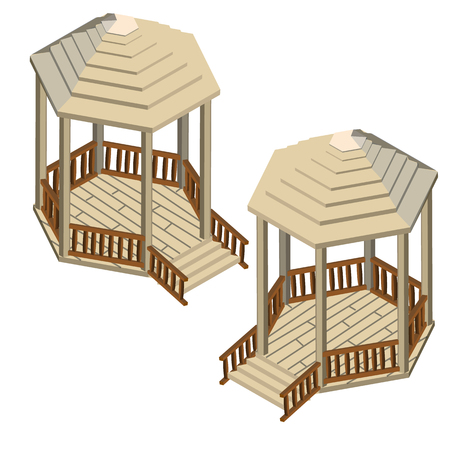 Two wooden gazebos isolated on white background. Vector cartoon close-up illustration