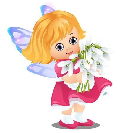 A little happy animated girl with fairy wings holding a bouquet of blooming snowdrops isolated on white background. Vector cartoon close-up illustration