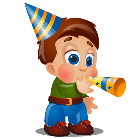A little happy animated boy are blowing on festive pipes at birthday party isolated on white background. Vector cartoon close-up illustration