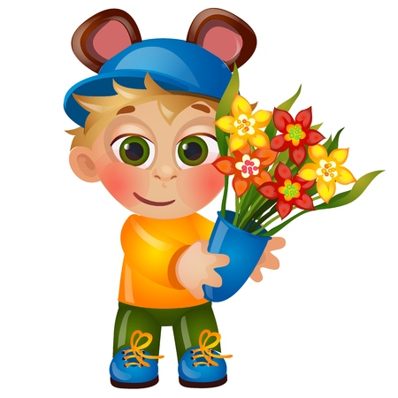 A little happy animated boy with eared hat holding a bouquet of blooming flowers isolated on white background. Vector cartoon close-up illustration