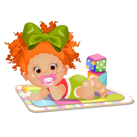 Little red-haired girl sucks a pacifier lying on the rug isolated on white background. Vector cartoon close-up illustration
