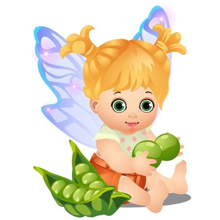 Una bambina animata felice con ali di fata che tiene un pisello verde isolato su priorità bassa bianca. Illustrazione del primo piano del fumetto di vettore