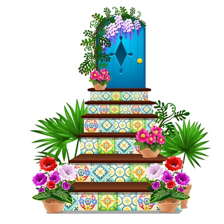 Decor in the form of a blue wooden door and steps tiled with multi-colored ornaments, fresh flowers in pots isolated on white background. Vector cartoon close-up illustration