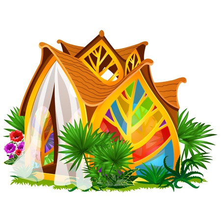 Exquisite design of the house in the form of leaves with stained glass isolated on white background. Vector cartoon close-up illustration