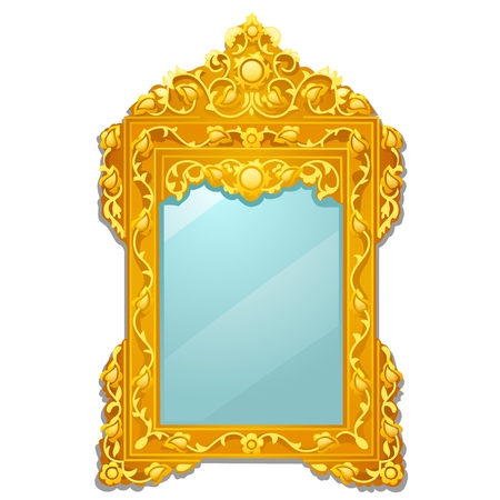 Vintage mirror with golden ornate florid frame isolated on white background. Vector cartoon close-up illustration. Ilustração