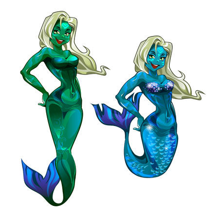 Sexy mermaid painted with neon paint isolated on white background. Underwater party. Vector cartoon close-up illustration.
