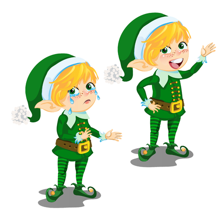 Cartoon animated boy leprechaun happy and crying isolated on a white background. Vector cartoon close-up illustration