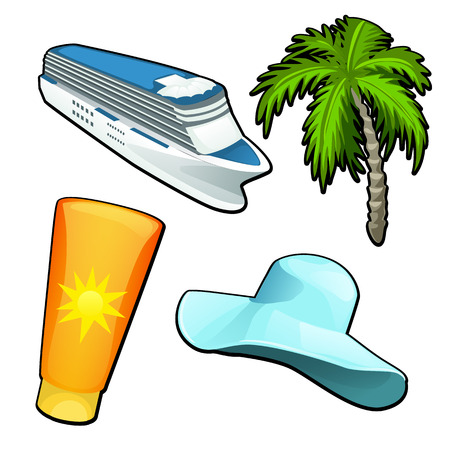 A set of cartoon attributes of tourist trips and travel isolated on white background. Vector cartoon close-up illustration.