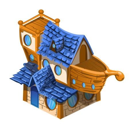 Toy house brown and blue color in the style of the ship isolated on white background. Vector cartoon close-up illustration.