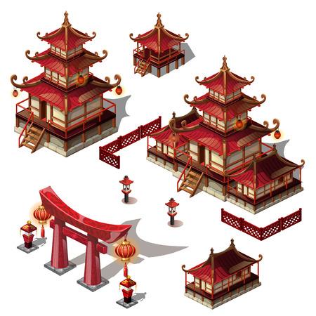 Un insieme di elementi architettonici in stile orientale. Casa Pagoda e cancello di colore nero e rosso. Illustrazione del primo piano del fumetto di vettore Vettoriali