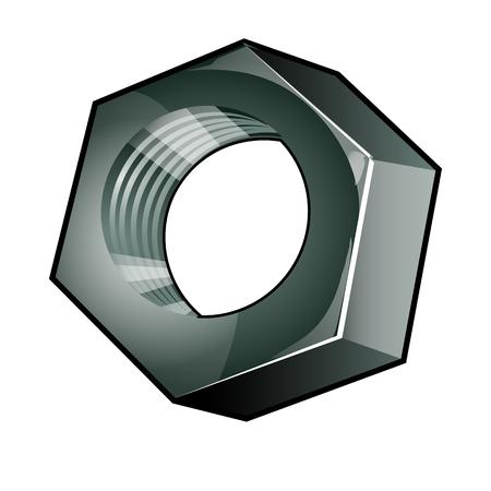 The single metallic nut isolated on a white background. Steel fastening element. Vector cartoon close-up illustration Illustration