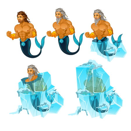 Stage of freezing and thawing of sailor mermaid man isolated on white background. Vector cartoon close-up illustration. Illustration
