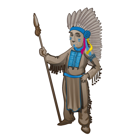 The statuette of the leader of a tribe of Indians isolated on white background. Cartoon vector close-up illustration