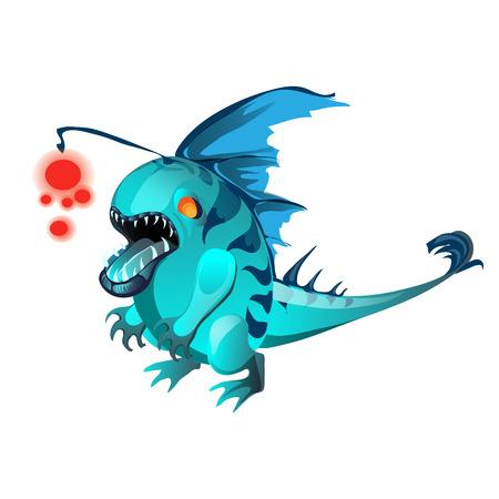 Fantasy animal turquoise color isolated on white background. Vector cartoon close-up illustration Illustration