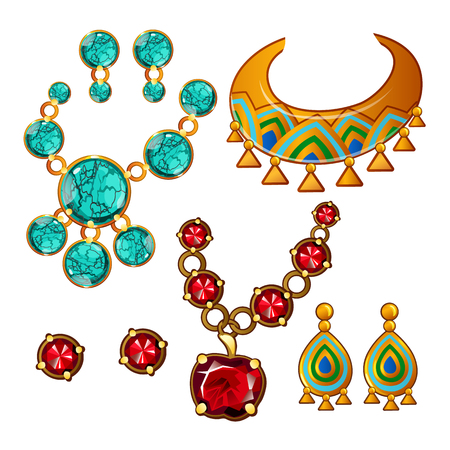 Set di collane e orecchini con gemme colorate isolati su sfondo bianco. Illustrazione del primo piano del fumetto di vettore