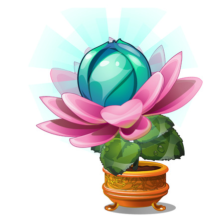 Blooming fantasy flower in the gold flower pot isolated on white background. Vector cartoon close-up illustration