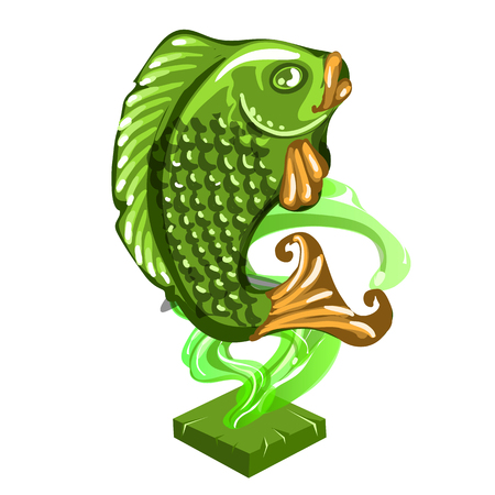 Fish figurine made of jade isolated on white background. Statuette of nephrite in the Oriental style. Vector illustration close-up