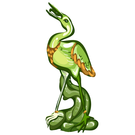 Heron figurine made of jade isolated on white background. Statuette of nephrite in the Oriental style. Vector illustration