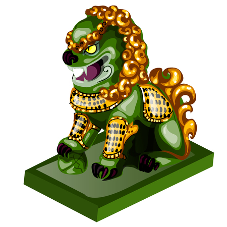Lion figurine made of jade isolated on white background. Statuette of nephrite in the Oriental style. Vector illustration Ilustração