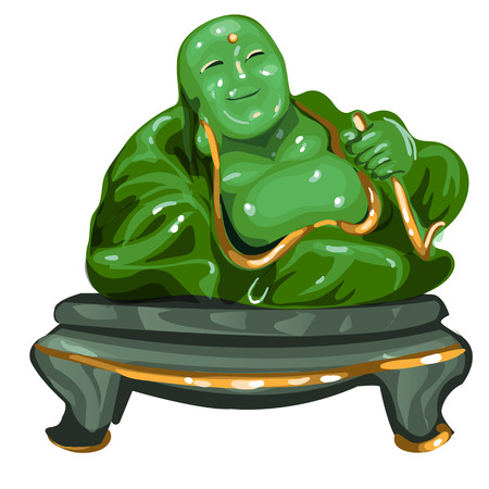 Hotey figurine made of jade isolated on white background. Statuette of nephrite in the Oriental style. Vector illustration