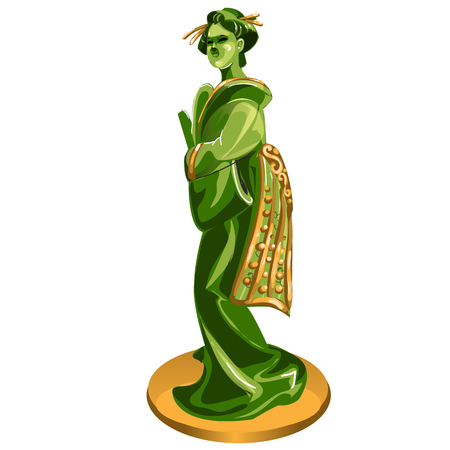 Geisha figurine made of jade isolated on white background. Statuette of nephrite in the Oriental style. Vector cartoon close-up illustration Ilustrace