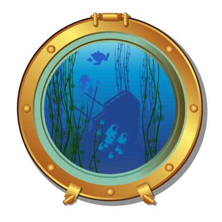 Ronde patrijspoort van een onderzeeër met uitzicht op het gezonken schip en het zeeleven geïsoleerd op een witte achtergrond. Vector cartoon close-up illustratie