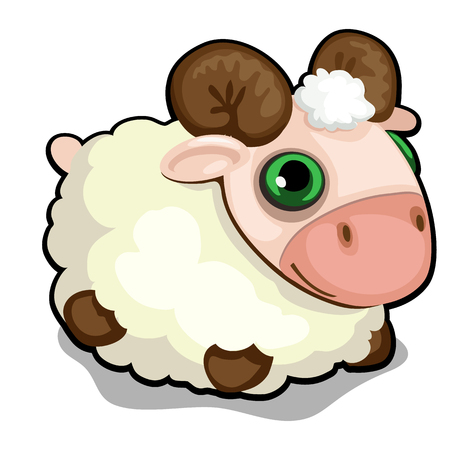 Toy sheep with green eyes isolated on white background. Vector cartoon close-up illustration