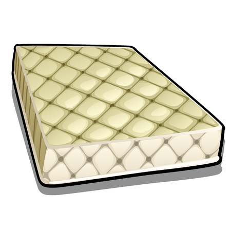 Comfortable mattress isolated on white background. Vector cartoon close-up illustration