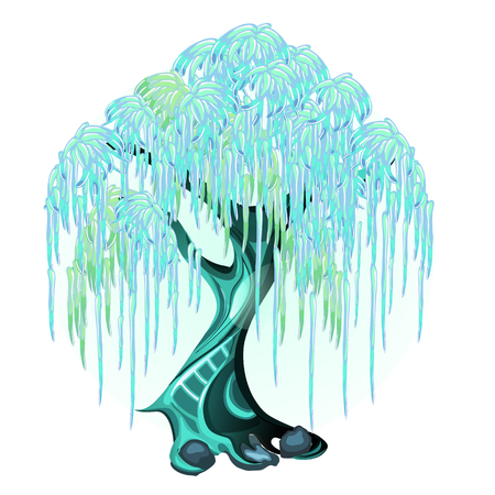 Fantasy tree with glowing neon leaves isolated on white background. Vector cartoon close-up illustration
