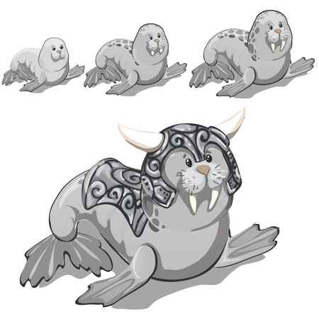 The set of stages of growing up walrus in the gray metal suit with horns. Vector cartoon close-up illustration Vector Illustration