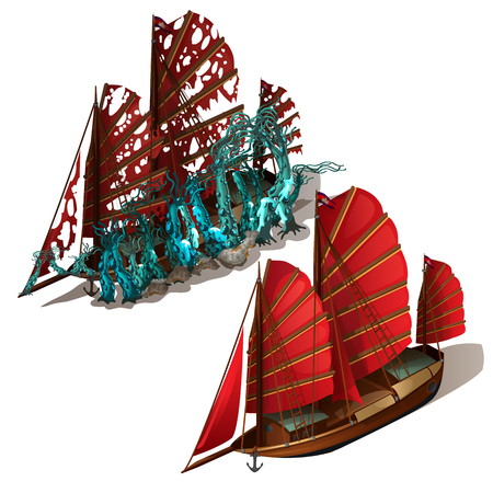 Beautiful old sailboat with red sails isolated on a white background. Ship after shipwreck is overgrown with polyps and corals on the seabed. Vector illustration