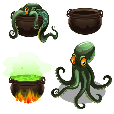 Green octopus and cauldron with magic potion isolated on white background. Vector cartoon close-up illustration. Illustration
