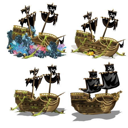 The sunken pirate ship overgrown coral polyps. Stage of growth and formation of coral reefs isolated on white background. Vector illustration