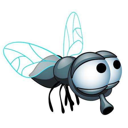 Kreskówka mucha z dużymi oczami na białym tle na białym tle. Ilustracja wektorowa z bliska kreskówka