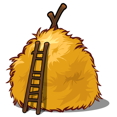 A haystack and a wooden ladder isolated on white background. A supply of feed for livestock, the object of agriculture. Vector illustration Vetores