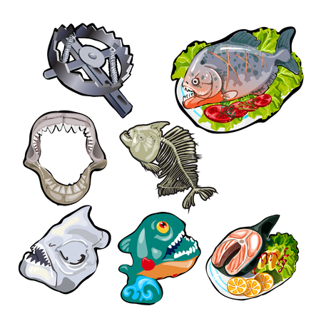 Set on the theme of toothy fish. Meals of piranha and sharks. Skeleton, jaw, skull of the ancient fish. Bear trap. Vector illustration.