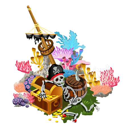 Ship after shipwreck is overgrown with colorful polyps and corals on the seabed. The skeleton of pirate hugs the chest of gold coins. Vector illustration