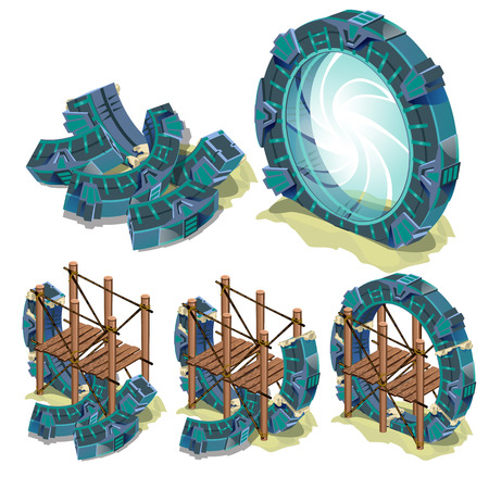 The construction phase of the round portal to another dimension isolated on white background. Vector cartoon close-up illustration. Illustration