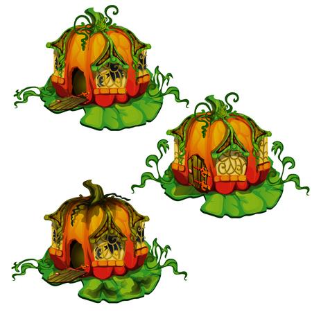 Conjunto de casas de cuento de hadas hechas de calabazas. Hogar de habitantes del bosque de fantasía aislado sobre fondo blanco. Ilustración vectorial