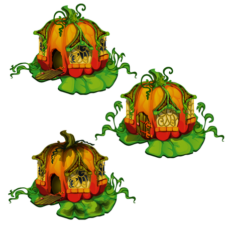Set of fairy tale houses made out of pumpkins. Home of dwellers of fantasy forest isolated on a white background. Vector illustration.