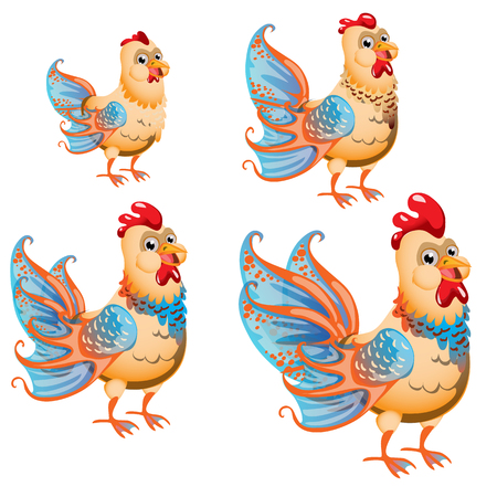 Set of fantasy animals isolated on white background. Hybrid fish and chicken. Vector illustration