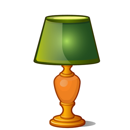 Table lamp with green shade in vintage style isolated on white background. Vector illustration