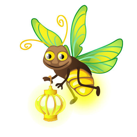 Cartoon Firefly with lantern isolated on a white background. Vector illustration.