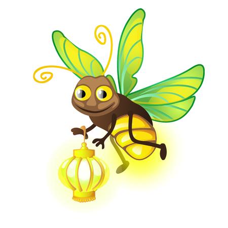 Karikatur-Glühwürmchen mit Laterne lokalisiert auf einem weißen Hintergrund. Vektorillustration. Vektorgrafik