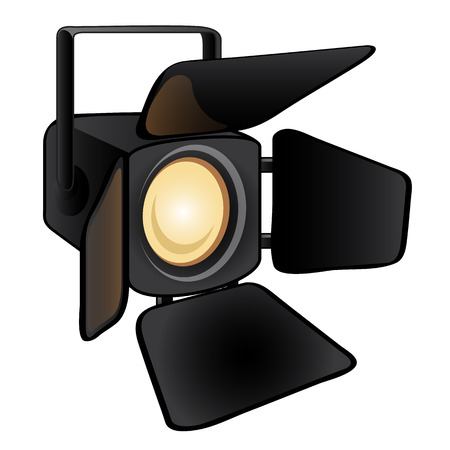 Shining stage light isolated on a white background. Studio lighting equipment. Vector illustration