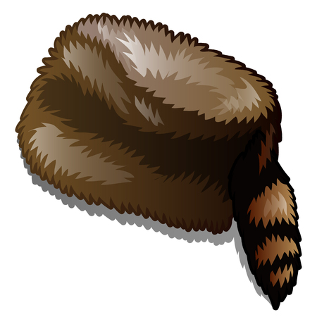 Fur winter hat with tail isolated on white background. Vector cartoon close-up illustration.