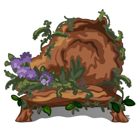 Bench made of felled old tree isolated on white background. Furniture for landscape design. Vector illustration Illustration