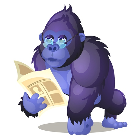 Funny animated gorilla reading a book isolated on white background. Vector cartoon close-up illustration